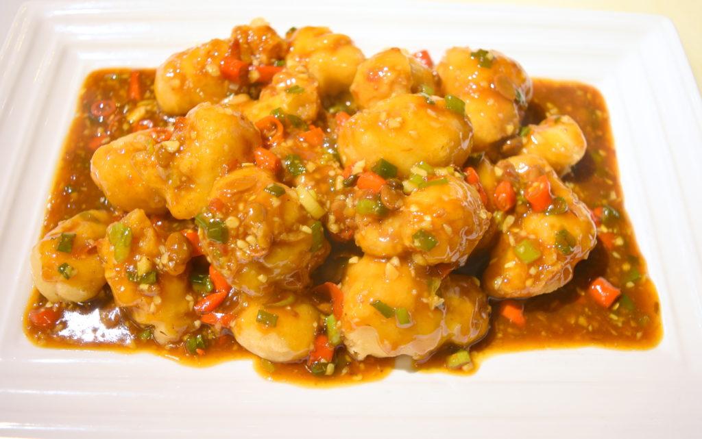 56. Crispy Chicken w/Hot Garlic Sauce 魚香脆皮雞
